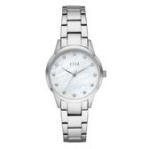ELLE  Molitor優雅時尚晶鑽貝殼面腕錶-銀