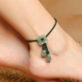 純然飾品清新東陵玉瑪瑙可調節腳裸配飾紅繩轉運腳森繫文藝復古腳鍊唯