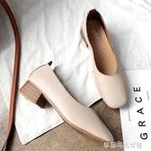 豆豆鞋 奶奶鞋女粗跟復古豆豆鞋女百搭單鞋仙女秋季中跟女鞋新款秋鞋 夢露時尚女裝