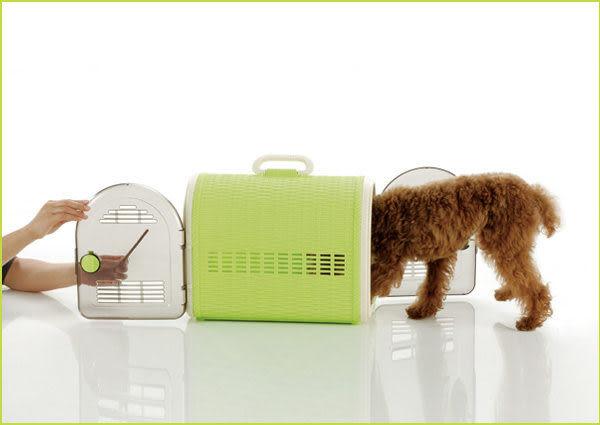 [寵樂子]《日本Richell》藤紋寵物雙門提籠W-46咖啡色57411