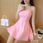 無袖洋裝 夏季新款韓版小清新露背抹胸吊帶裙女修身性感無袖打底洋裝 伊莎公主