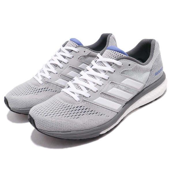 adidas 慢跑鞋 Adizero Boston 7 W 灰 白 BOOST 中底 女鞋 運動鞋【PUMP306】 AQ0199