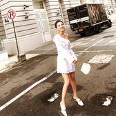2018年春裝新款女裝復古刺繡小香風性感斜肩長袖襯衫式寬鬆連身裙洋裝【無趣工社】