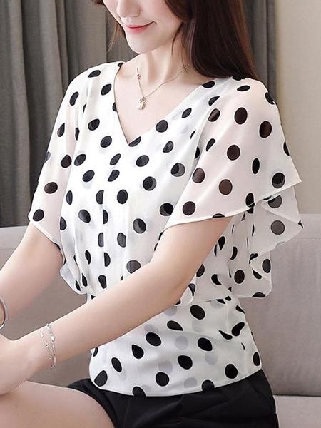 雪紡衫V領超仙短袖氣質修身上衣女裝洋氣襯衫