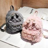 毛毛雙肩包女秋冬新款潮韓版百搭菱格繡線手提迷你多用小背包