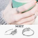戒指 樹葉造型滿鑽 精緻氣質指環 開口式戒指【1DDR0014】