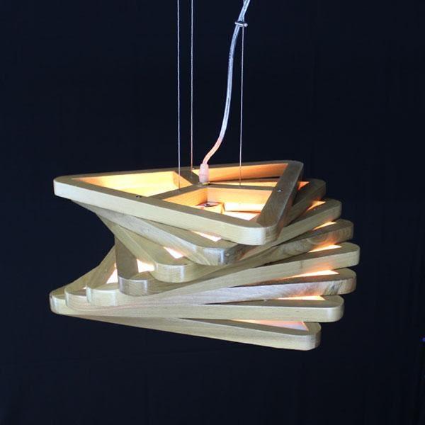 北歐日式層次木製造型木頭吊燈─長43寬43高17─E27X 3【雅典娜家飾】AGH298