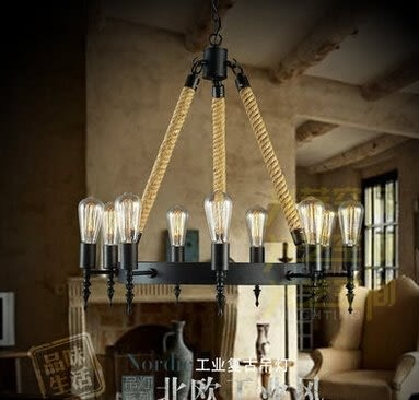 設計師美術精品館美式鄉村創意個性燈飾北歐臥室客廳餐廳複古酒吧鐵藝麻繩吊燈