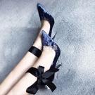 單鞋春新款女鞋 天鵝絨細跟高跟鞋尖頭淺口8厘米兩穿超高跟單鞋
