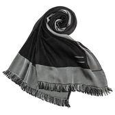 ARMANI Collezioni時尚雙色流蘇薄圍巾(黑色)102806-1