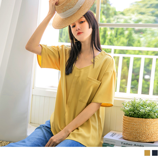 《AB15837》純色長版V領造型開襟口袋短袖上衣 OrangeBear