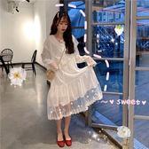 洋裝 eggsshop喪系蕾絲荷葉邊雪紡連衣裙子洛麗塔洋裝lolita天國少女夏 快速出貨