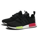 ADIDAS 休閒鞋 NMD R1 黑 螢光綠紅 運動 慢跑 男(布魯克林) EE5100