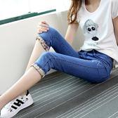 夏天新款女式薄款牛仔褲七分褲高腰彈力修身大碼彈力修身7分中褲