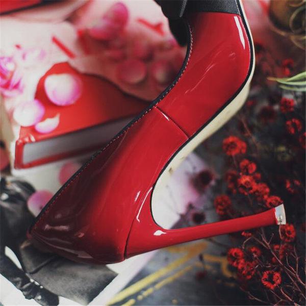 2017春季新款尖頭細高跟超氣質漆皮蝴蝶結淺口撞色超穩單鞋  -yrre00243