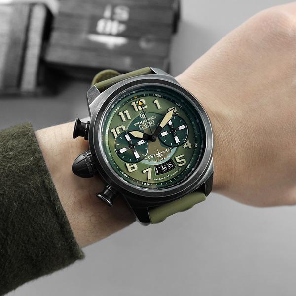 elegantsis / ELJX48QS-6G02LC / 中華民國空軍C-130運輸機限量款 小牛皮帆布魔鬼氈錶帶 綠x黑 48mm