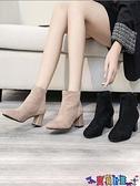 高跟短靴 高跟鞋子小短靴女2021年新款粗跟百搭絨面瘦瘦馬丁秋冬季棉鞋 寶貝計畫