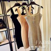 夏季女裝夜店性感時尚單排扣裹胸低胸包臀針織吊帶洋裝E45 可可鞋櫃