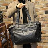 男士商務包手提包大容量旅遊短途商務出差單肩行李包袋皮 可可鞋櫃