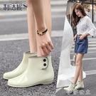 雨鞋 平底果凍雨鞋女短筒時尚款雨靴防滑套...