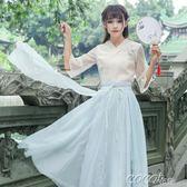 古裝 改良漢服古風連身裙夏裝日常女裝仙女飄逸清新淡雅古裝流仙裙女igo  coco衣巷