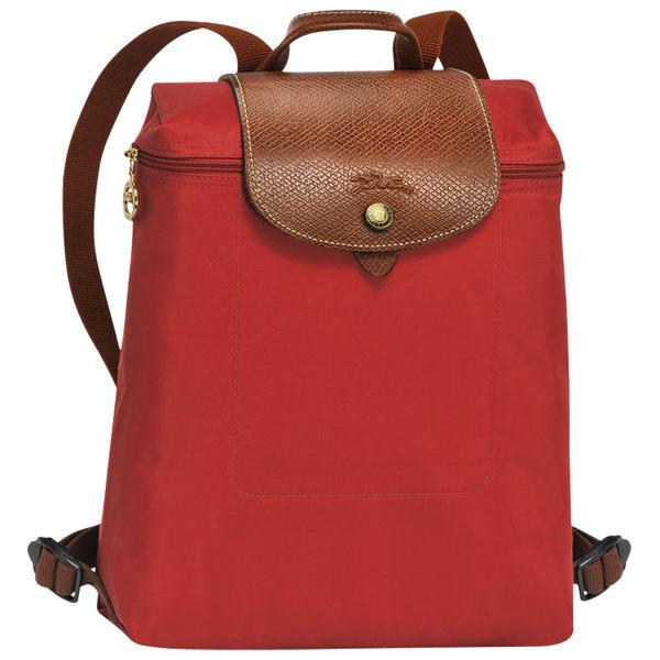 法製LONGCHAMP摺疊款 (磚紅色) 拉鍊後背包