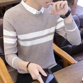 假兩件毛衣男加絨加厚韓版襯衫領針織衫潮流假領線衣帶領秋裝上衣