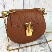 BRAND楓月 CHLOE 經典 迷你 焦糖色 菱格 MINI DREW BAG 小豬包 金鍊包 斜背包 側背包