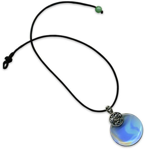 鹿港窯~開運古法水晶琉璃銀飾項鍊~聽海◆附精美包裝◆免運費送到家