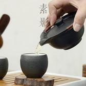 素影 日式黑禪風手工黑陶茶壺 石頭釉粗陶功夫茶具手抓壺蓋碗陶瓷