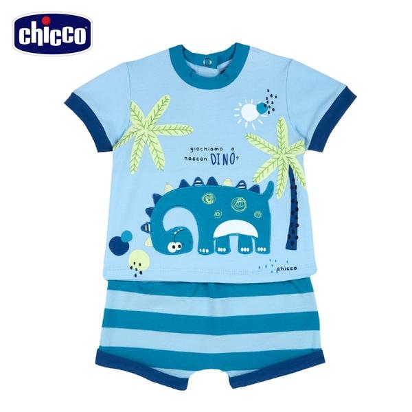 chicco-快樂恐龍-寬條短褲短袖套裝