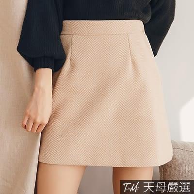 【天母嚴選】波浪條紋配色後鬆緊毛呢短裙(共二色)