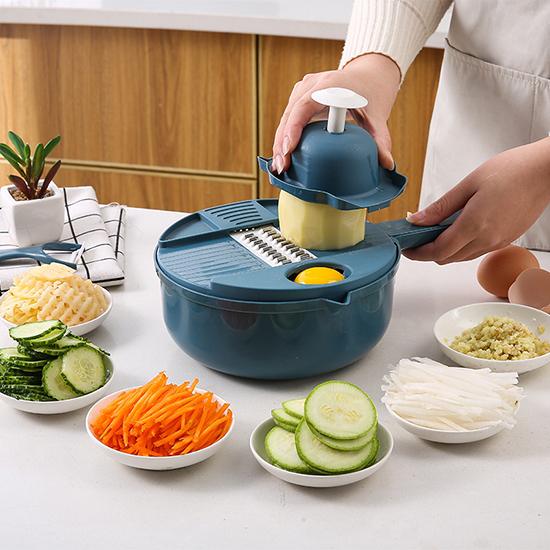 磨泥器 切絲器 切菜器 切菜機 瀝水器 切片器 削皮刀 削皮 12件套刨絲切菜器【A035】生活家精品
