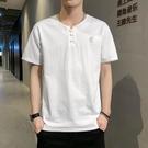 亞麻短袖男士夏季冰絲感T恤寬松2021新款棉麻半袖男裝上衣服潮牌