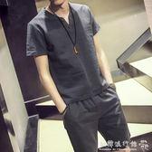 運動套裝  兩件套短袖運動短褲男時尚休閒薄款  歐韓流行館