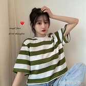 短袖 短袖夏季女韓版寬鬆條紋t恤短款小個子百搭寬鬆上衣學生