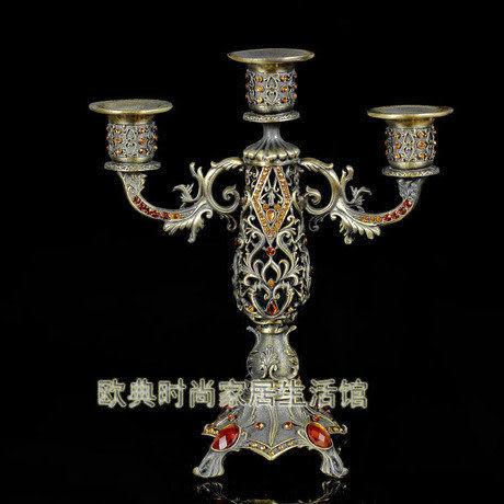 合金古典三頭燭台G014