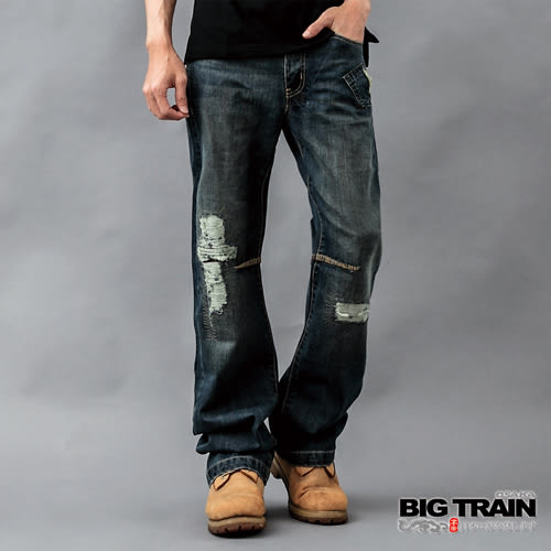 BIG TRAIN 日式水紋繡花垮褲-男-深藍