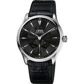 ORIS 豪利時 Artelier 手上鍊小秒針手錶-黑/40mm 0139675804054-0752106