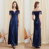 禮服  亮片深V流蘇露背性感長版氣質晚禮服  2色 4-12碼 #jh893 ❤卡樂❤