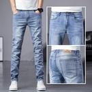潮流長褲 牛仔褲男直筒寬鬆2021年春秋新款修身男士夏季薄款彈力休閒長褲子