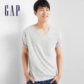 Gap男裝 基礎款純色V領短袖T恤 645979-淺麻灰