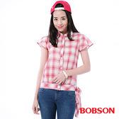 BOBSON 女款格紋腰綁帶短袖襯衫(23134-13)