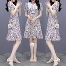 VK精品服飾 韓系優雅修身單排釦翻領碎花氣質短袖洋裝
