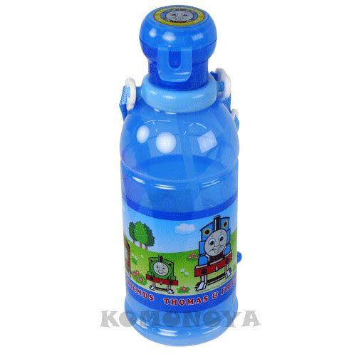 〔小禮堂〕THOMAS湯瑪士 日本製吸管水壺《透明藍‧朋友》400ml 4970825-06134