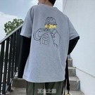 秋季潮牌假兩件t恤男長袖寬松潮流原宿風衛衣ins學生百搭上衣服丅 快速出貨