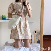 碎花連身裙 法式小眾復古泡泡袖綁帶碎花連身裙女夏季短袖桔梗初戀 爾碩