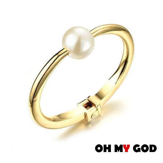 OH MY GOD光面珍珠銅鍍金手環