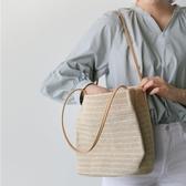 草編包 草編包包女包夏天小清晰新款百搭編織包單肩包沙灘包 手提包 瑪麗蘇