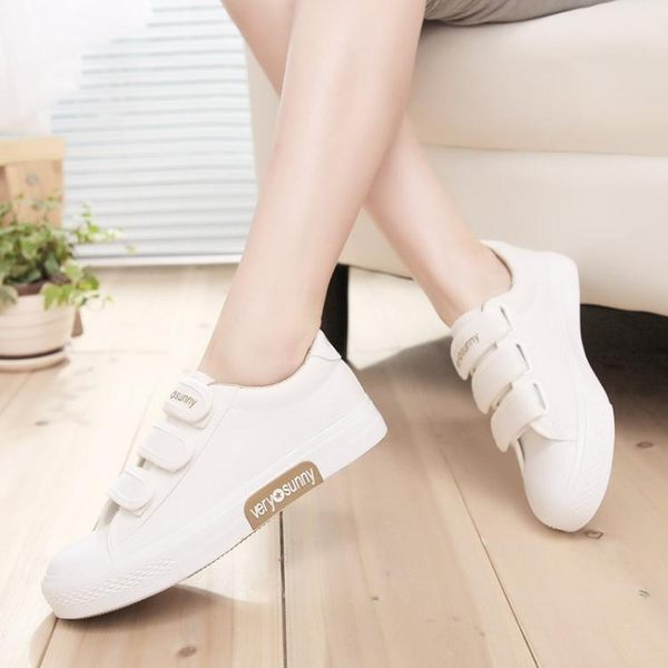 春季新款魔術貼帆布鞋女韓版原宿ulzzang布鞋子學生小白鞋潮  小時光生活館